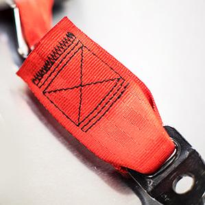 Seat belt webbing stitching